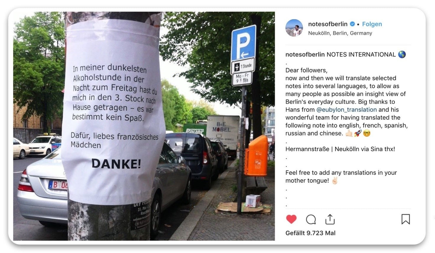 Notes of Berlin, Übersetzungen